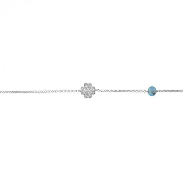 925/1000 Silver Bracelet Clover 17,50cm/2,50cm.