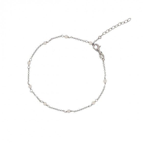 Bracelet de Cheville avec Pérle Argent 925/1000 21cm+3cm.