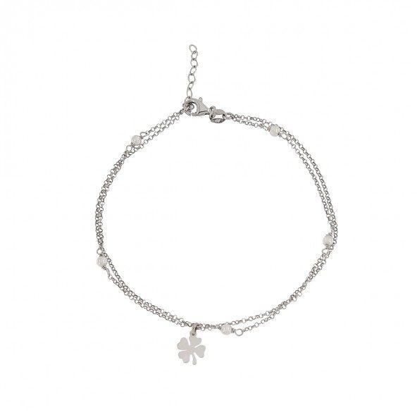 Bracelet de Cheville avec Pérle Argent 925/1000 21,50cm+2,50cm.