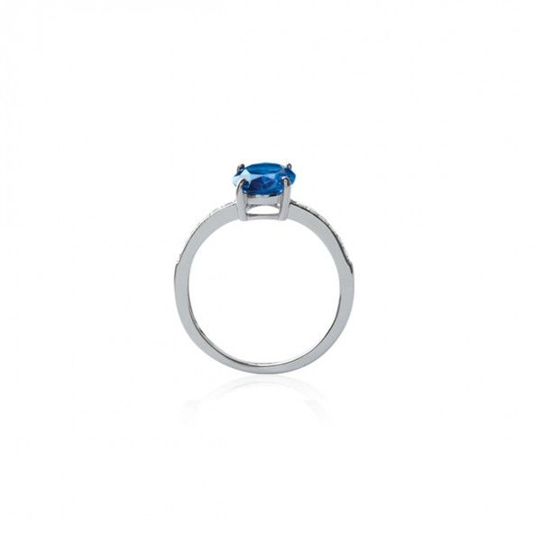 925/1000 Silver Blue Solitary Ring 9mm.