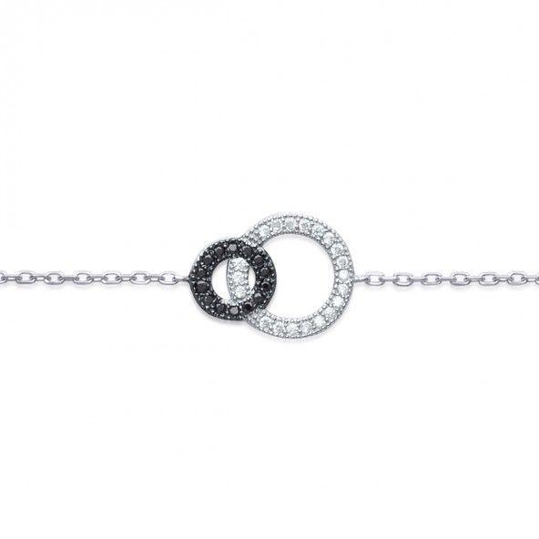 Bracelet Deux cercles Argent 925/1000 18cm.