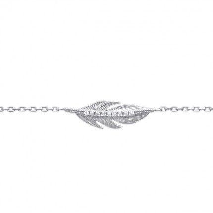 925/1000 Silver Feather Bracelet 18cm.