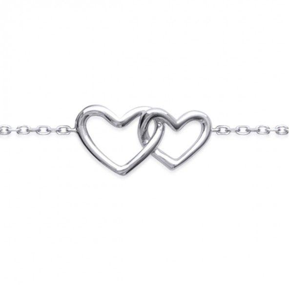 925/1000 Silver Two Hearts Bracelet 18cm.