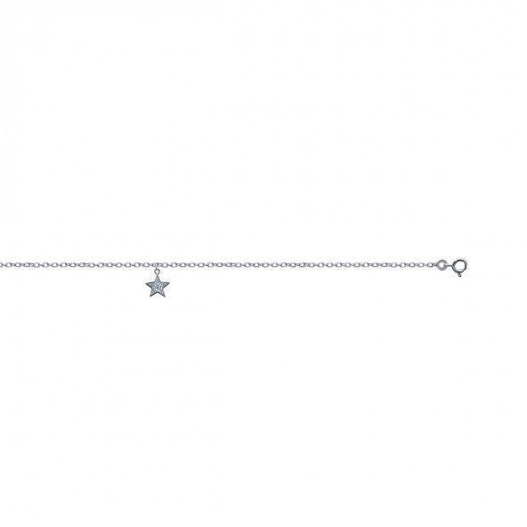 Chaine de Cheville avec Étoile Argent 925/1000 25cm.