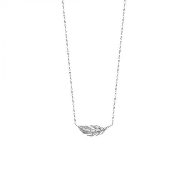 925/1000 Silver Feather Necklace 45cm.