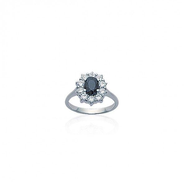 Anel Rainha com Pedra Azul Prata 925/1000 12mm.