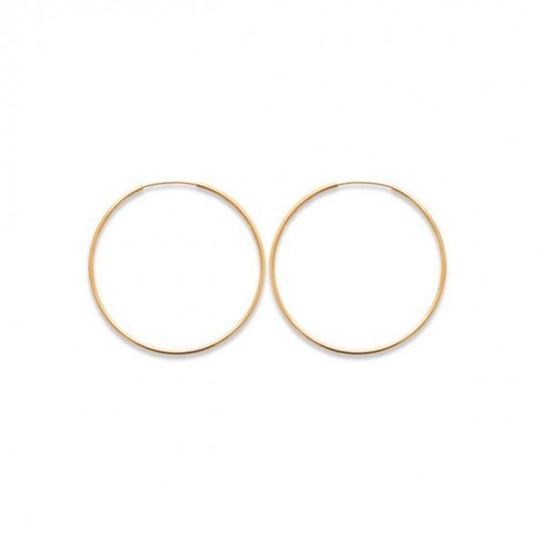 Argolas Oval Plaqueado Ouro 50mm.