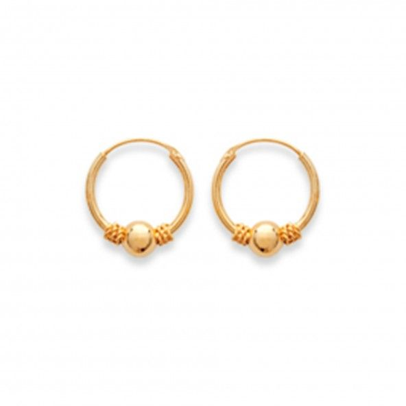 Gold Plated Bali Hoops 12mm.