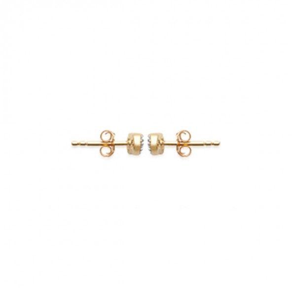 Brincos Infinito com Zirconia Plaqueado Ouro 10mm.
