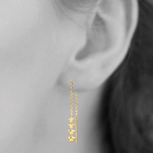 Gold Plated Pendent Earring with Star 8,50cm.