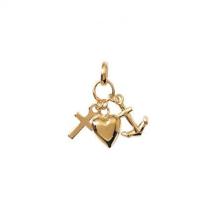 Medaille Plaqué Or avec Croix, Coeur et Ancre 25mm.