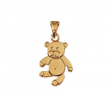 Medalha Urso Plaqueado Ouro 19mm.