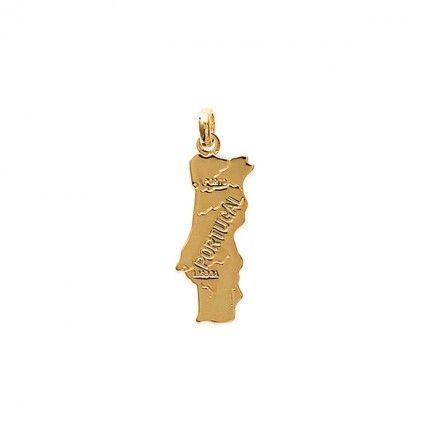 Medalha Mapa de Portugal Plaqueado Ouro 27mm.