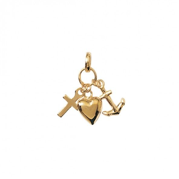 Gold Plated Pendent with Cross, Heart and Anchor 25mm.