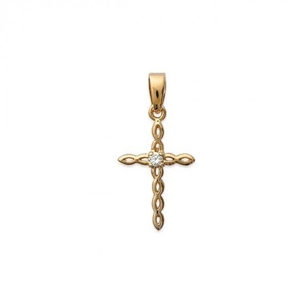 Medaille Croix avec 1 Pierre Plaqué Or 21mm.