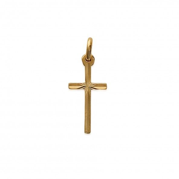 Gold Plated Cross Worked Pendend 21mm.