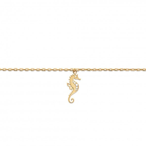 Gold Plated Ancle Bracelet with Hippocampus 25cm.