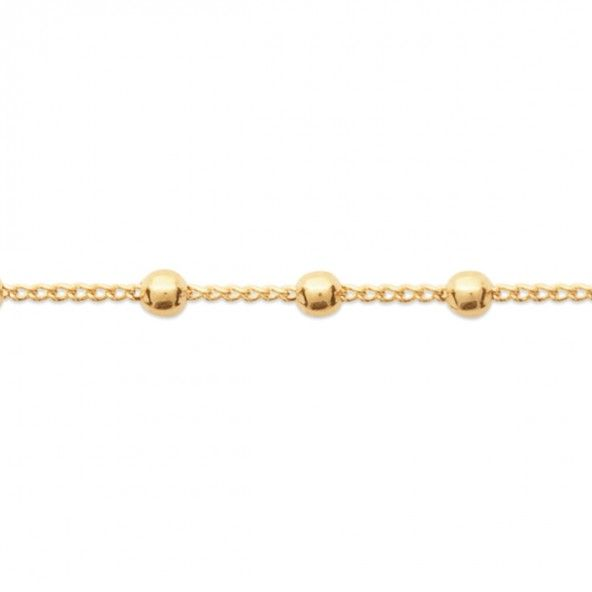 Gold Plated Bracelet with Ball 16cm+1,50cm.