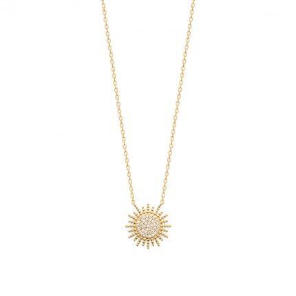 Colar Sol Plaqueado Ouro 45cm.