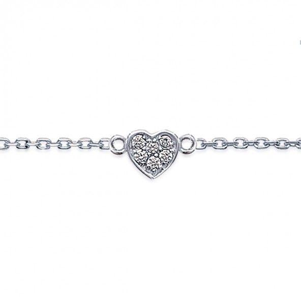 925/1000 Silver Heart Bracelet 18cm.
