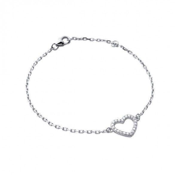 Bracelet Coeur Argent 925/1000 18cm.