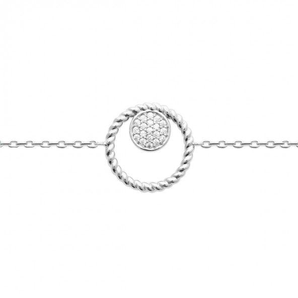 Pulseira Dois Circulos Prata 925/1000 18cm.