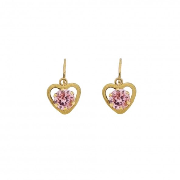 375/1000 Gold Heart Earrings with rose Stone 11mm.