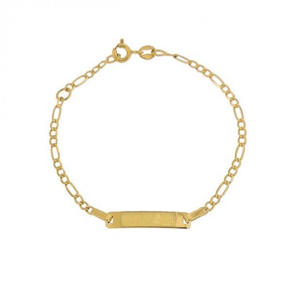Children Bracelet With Plate 375/1000 Gold 15cm.