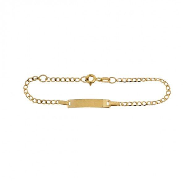 Children Bracelet With Plate 375/1000 Gold 15,5cm.