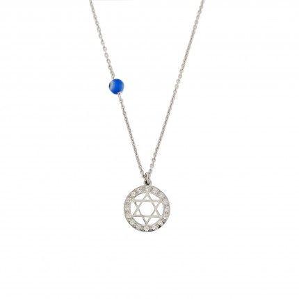 Collier  Étoile de David avec Zirconium Argent 925/1000 40cm Extensible 5cm.