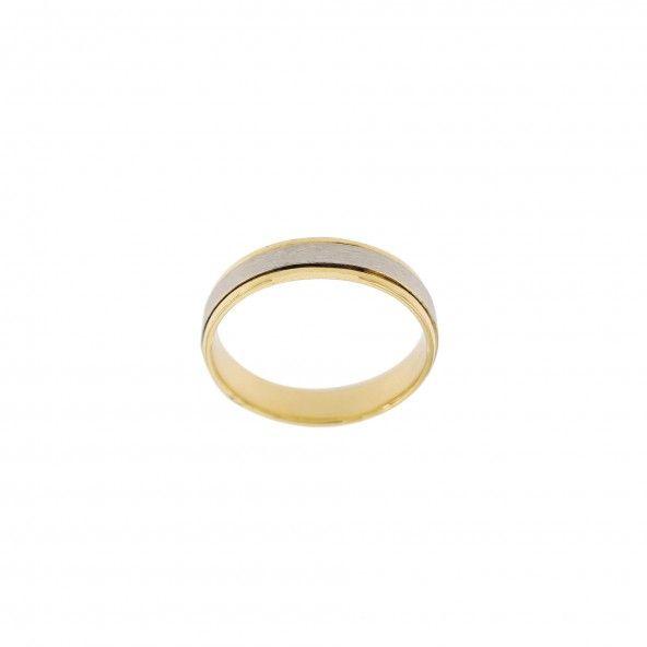 Aliança  Bicolor de Ouro 375/1000 4mm.