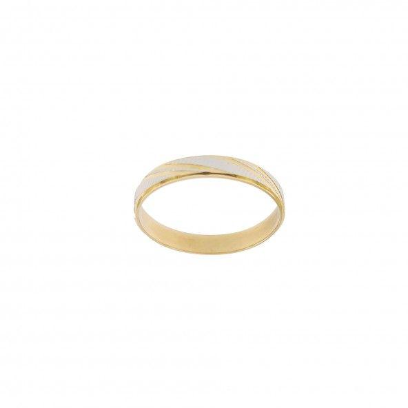 Aliança  Bicolor Acetinada com Riscos Diagonais Ouro 375/1000 3mm.