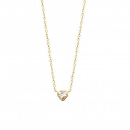 Gold Plated Necklace Heart with Zirconium