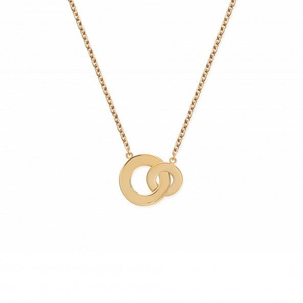 Gold Plated Necklace Double Circle